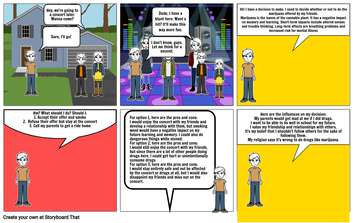 Health and Wellness Decision Making Comic Strip