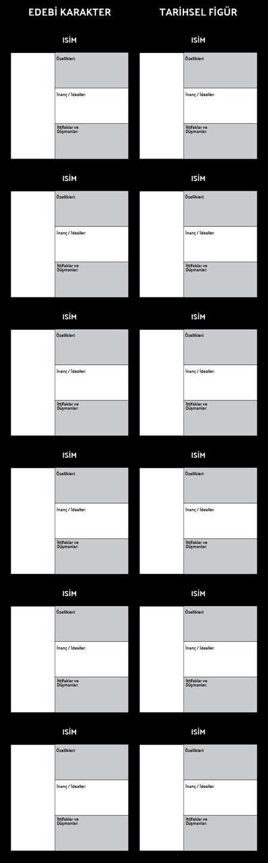 Alegorik Karakter T-Chart Şablonu