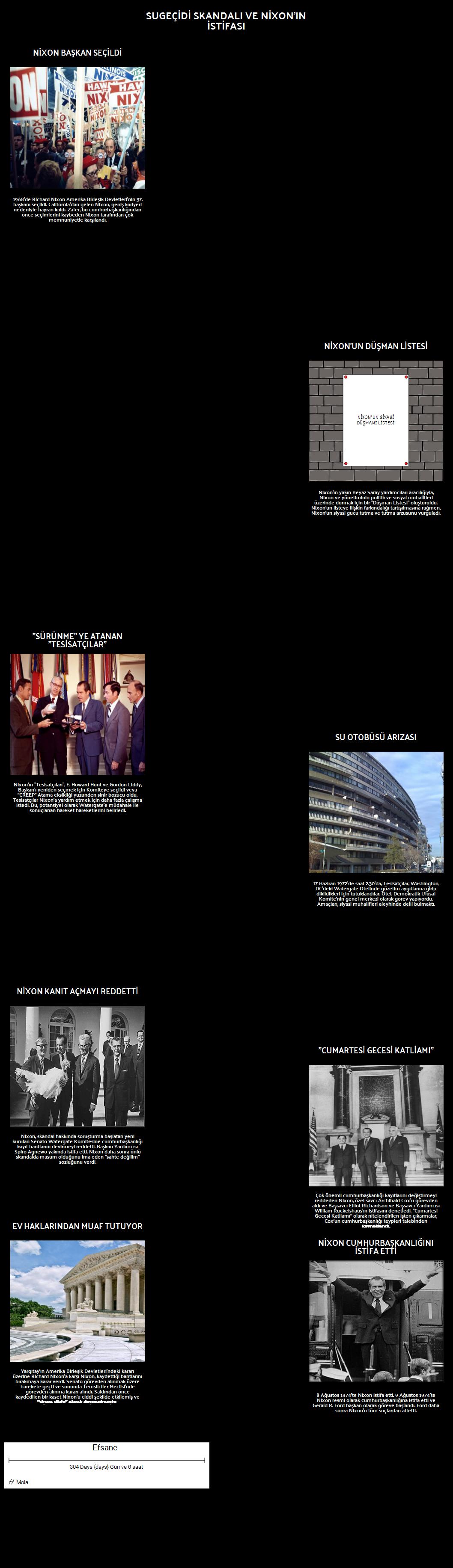 Watergate Skandalı Zaman Çizelgesi ve Nixon'ın İstifası
