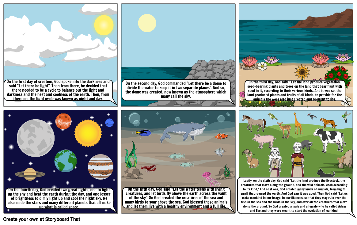 Six Days of Creation Story Board