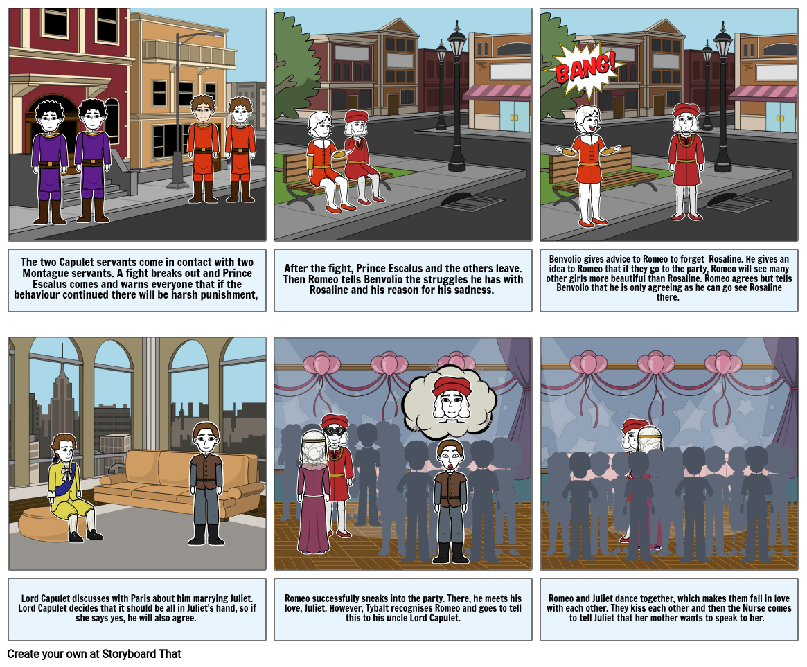 Romeo and Juliet Act 1 Storyboard
