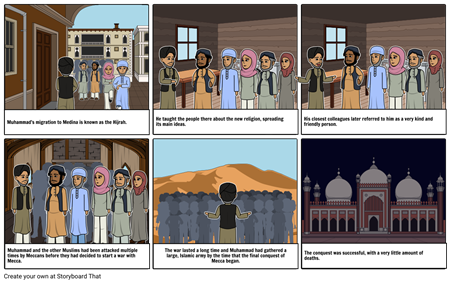 The Hijrah, Muhammad's time in Medina, and peaceful conquering of Mecca