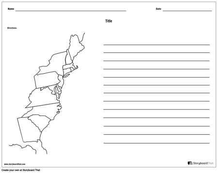 13 Colonies Map - With Lines