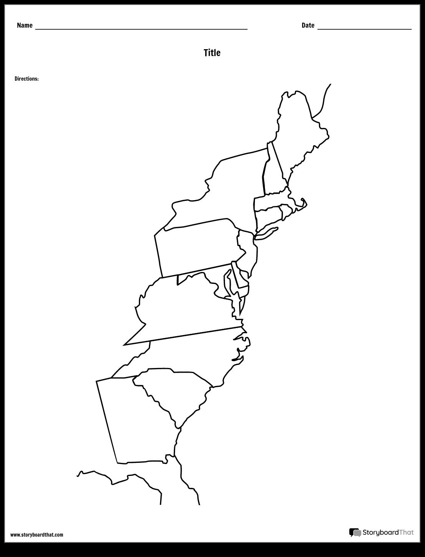 13 Colonies Map Storyboard by worksheet-templates