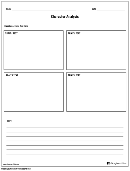 Character Analysis Boxes