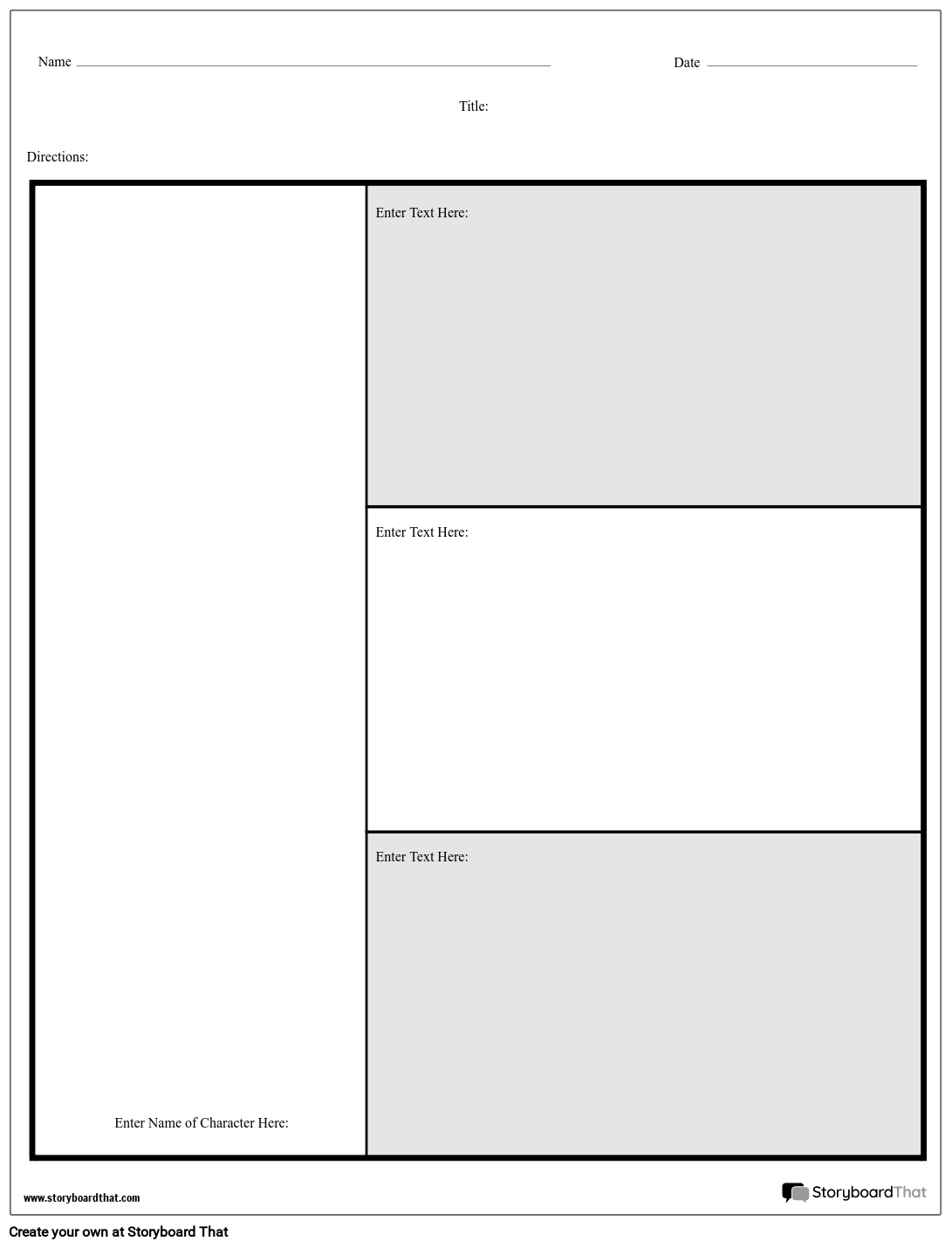 Character Chart 3 Questions Storyboard By Worksheet Templates