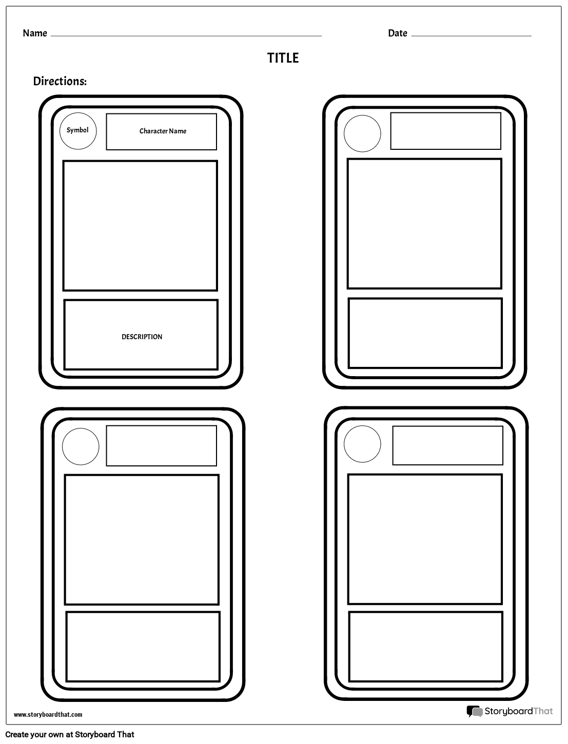 character trading cards storyboard by worksheet templates