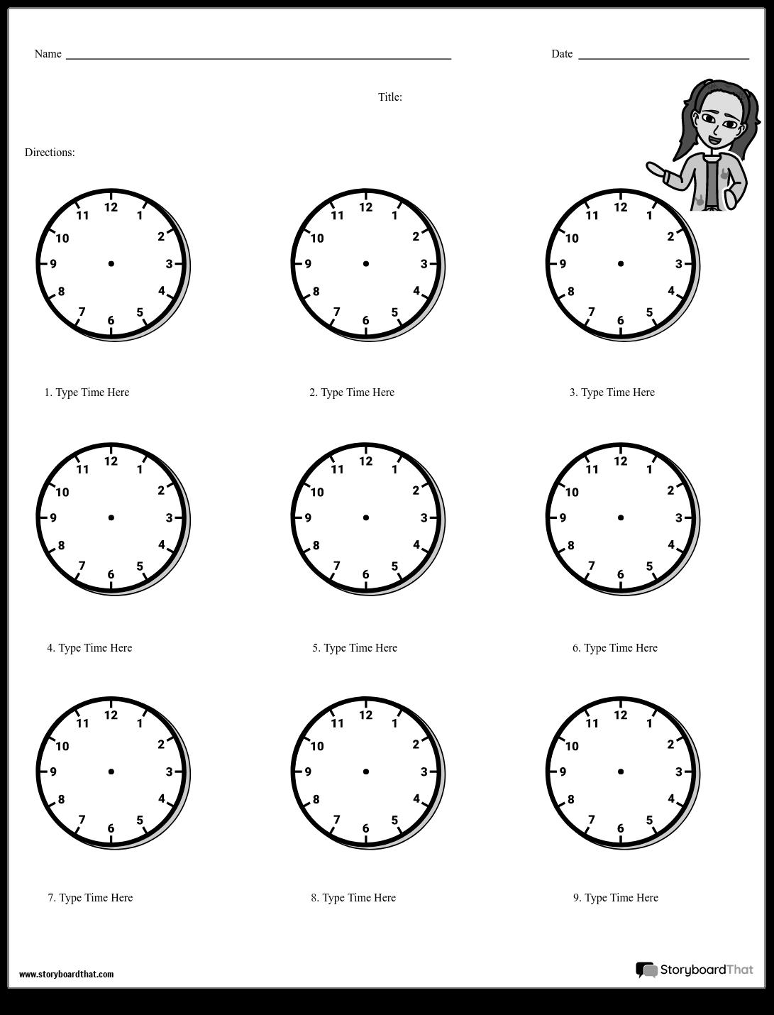 Erstellen Sie ein Telling Time Worksheet | Uhrarbeitsblätter