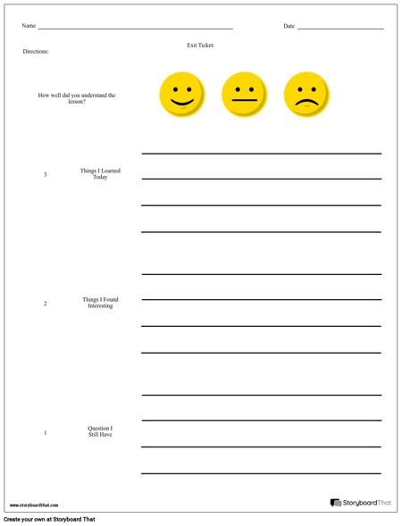 Exit Ticket - 3-2-1 with Confidence