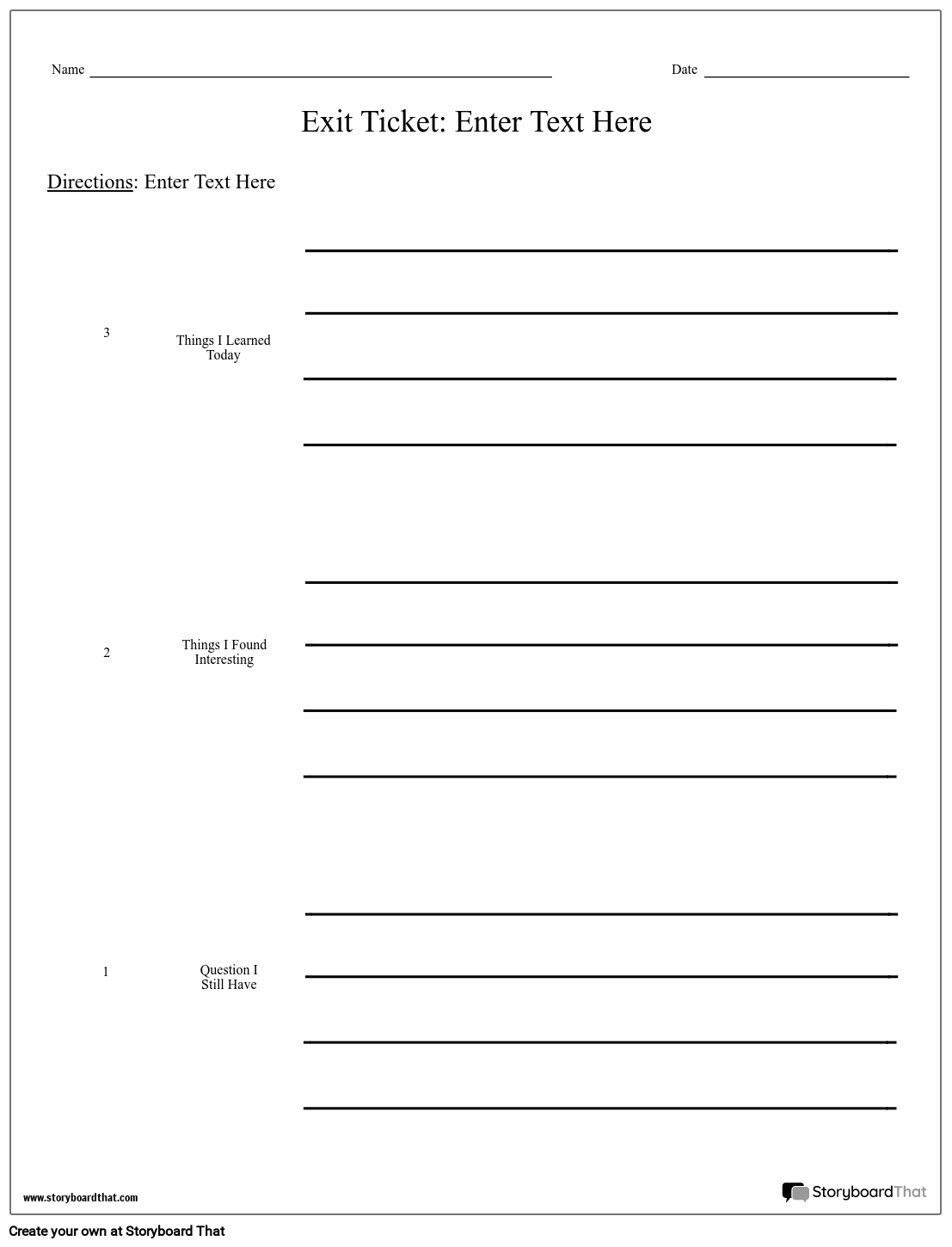 Exit Ticket - 3-2-1 Storyboard by worksheet-templates