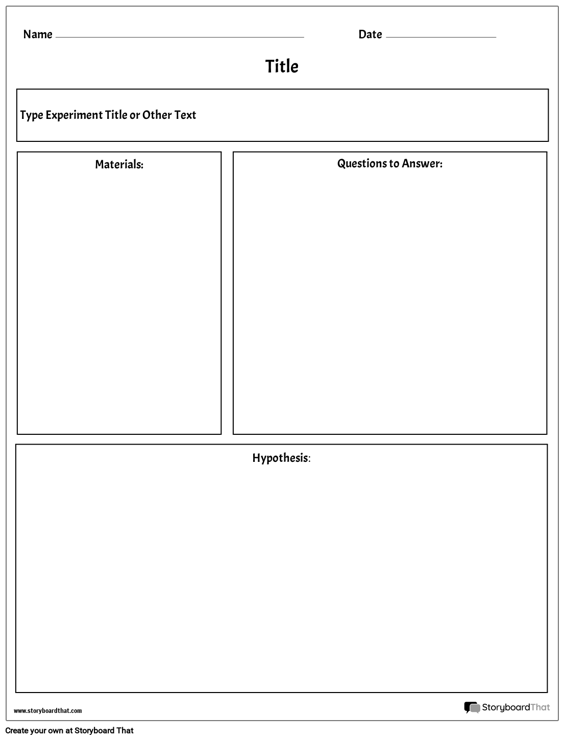 Plantilla de Laboratorio | Lab Worksheet Maker | Storyboard That