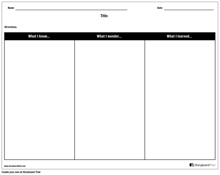 Create KWL/KWHL Worksheets or Graphic Organizers