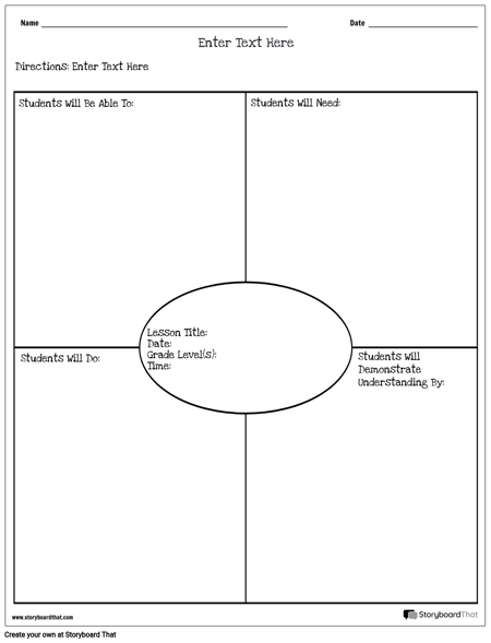 Lesson Planner - Objectives & Outcomes