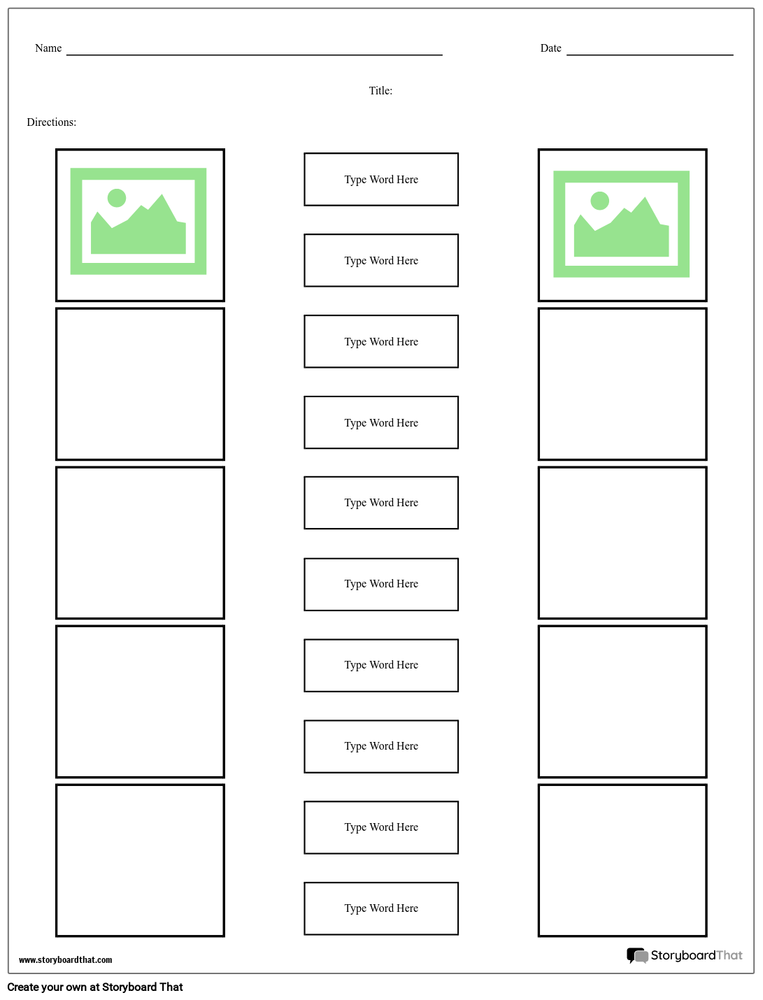make matching worksheets