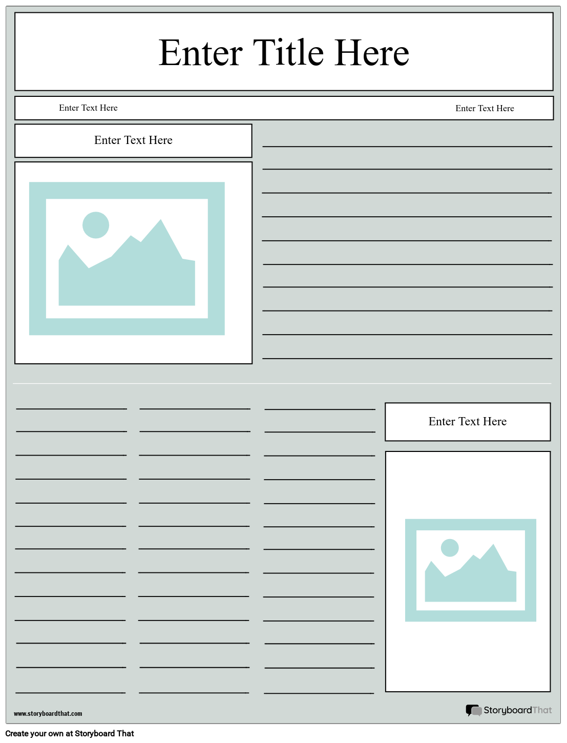 Newspaper Layout Storyboard by worksheet-templates