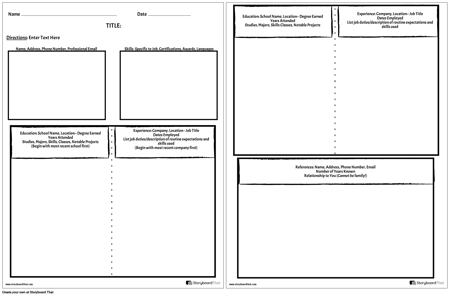 Create a Resume Worksheet | Resume Templates | Storyboard That ...