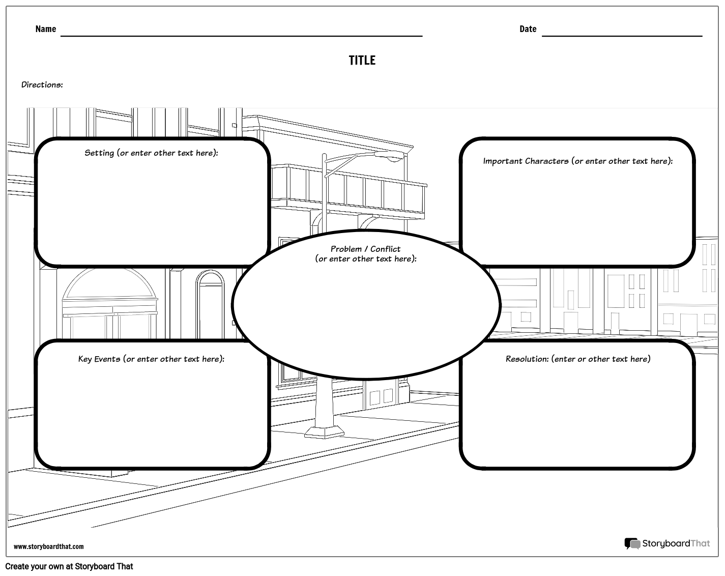 Story Map with Background Scene Storyboard by worksheet