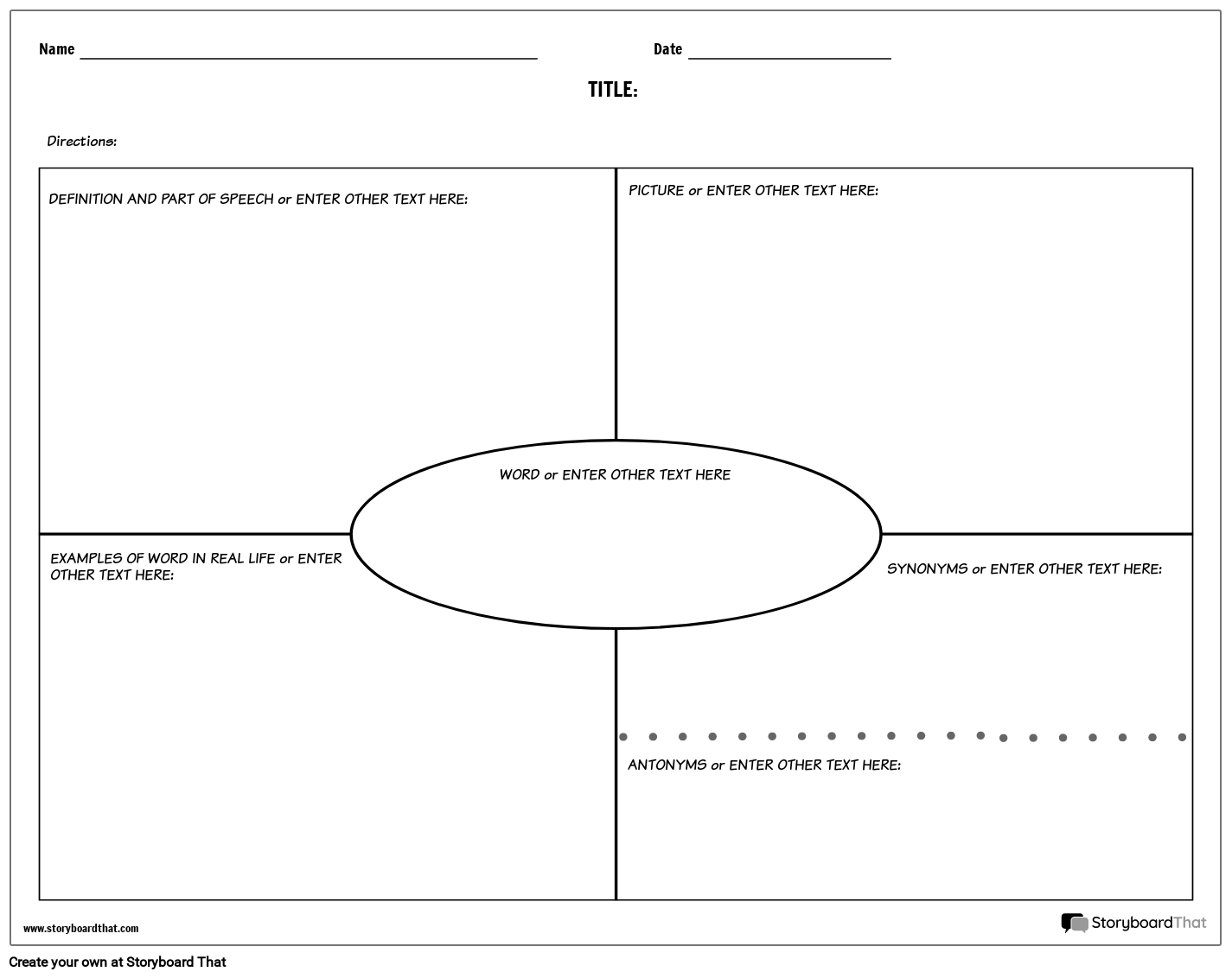 Create Vocabulary Worksheets Vocabulary Templates