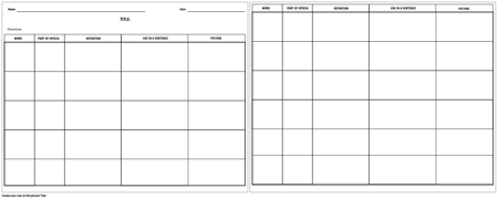 Vocabulary - Multiple Word Chart - More Details